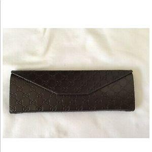 Gucci Brown Leather Triangle Glasses Case